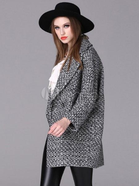 Mantel Grau Kragen Damen Tweed Langarm Kerbe dFwd47
