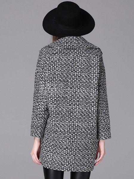 Tweed Mantel Damen Langarm Kerbe Kragen Mantel grau