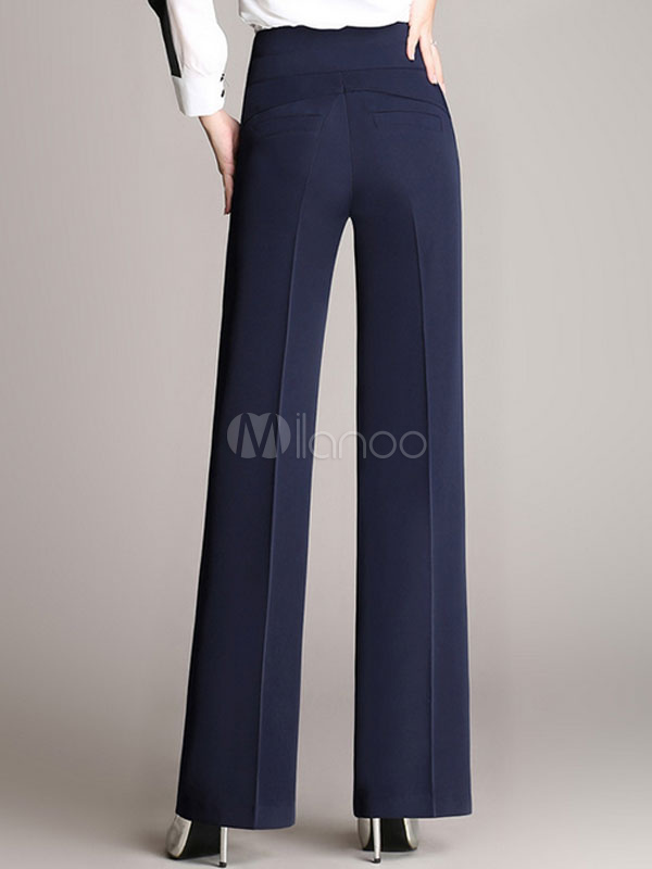Negro Cintura Casual Pantalones Rectos De La Mujer Pantalones De Pierna Ancha Milanoo Com