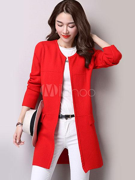 Damen Stricken Mantel Rose Rot Lange Rmel Offen Vorne