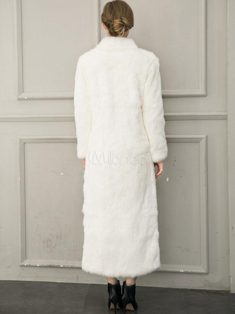 Manteau long femme hiver blanche fausse fourrure luxueux - Manteau mariage hiver ...