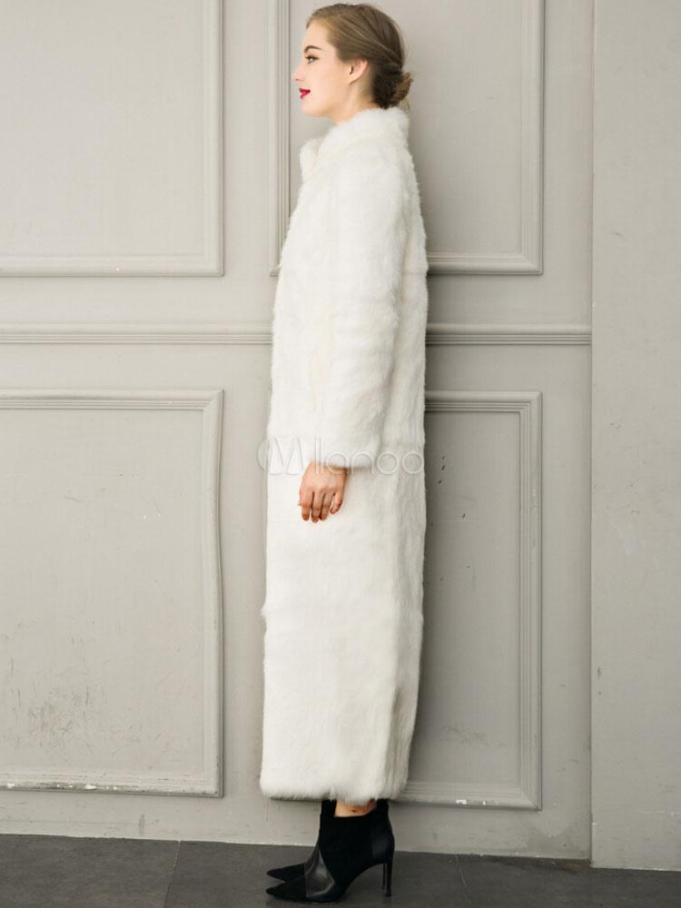 plus récent 50481 74dd9 Manteau long femme hiver Blanche fausse fourrure luxueux manteau d'hiver  femme avec ceinture