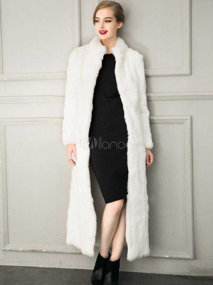 Manteau Long Femme Hiver Blanche Fausse Fourrure Luxueux Manteau D