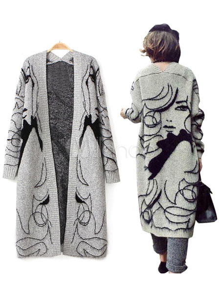 ... Gray Sweater Coat Women s Anime Characters Open Front Long Cardigan ... 3dcf72c0a8