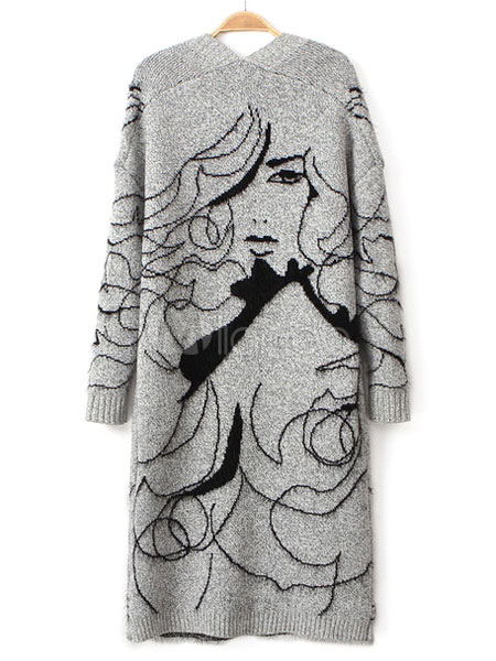 5d2a6396045a4 ... Gray Sweater Coat Women's Anime Characters Open Front Long Cardigan ...