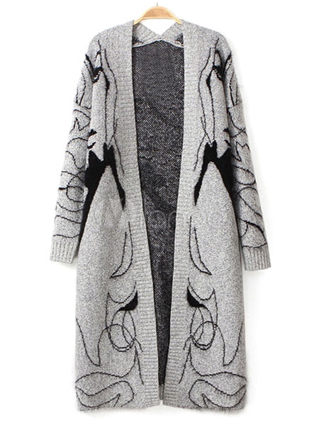 Gray Sweater Coat Women s Anime Characters Open Front Long Cardigan ... c33c0173a5