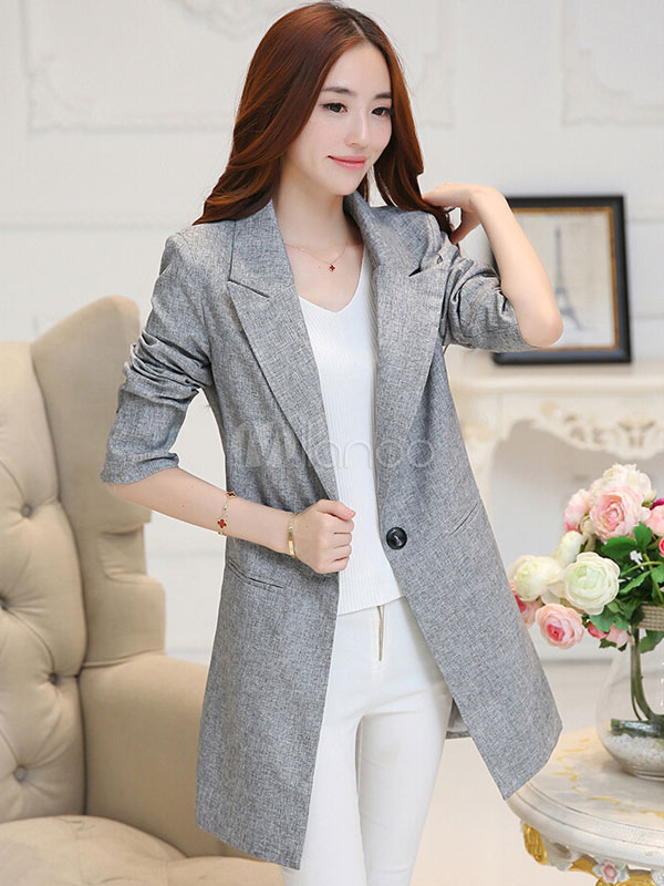 Women Blazer Gray Trench Coat Long Sleeve Casual Jacket Cheap clothes, free shipping worldwide