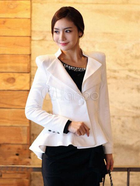 Women Black Blazer Peplum Spring Jacket Button High Low Casual Blazer Cheap clothes, free shipping worldwide
