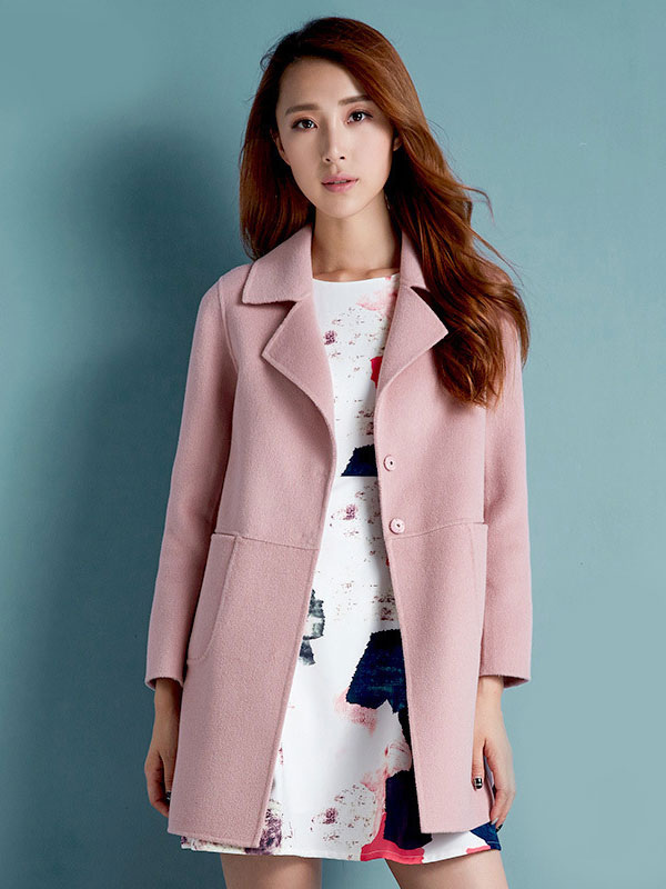 Women Wool Coats Pink Overcoat Long Sleeve Pockets Winter Coats Cheap clothes, free shipping worldwide