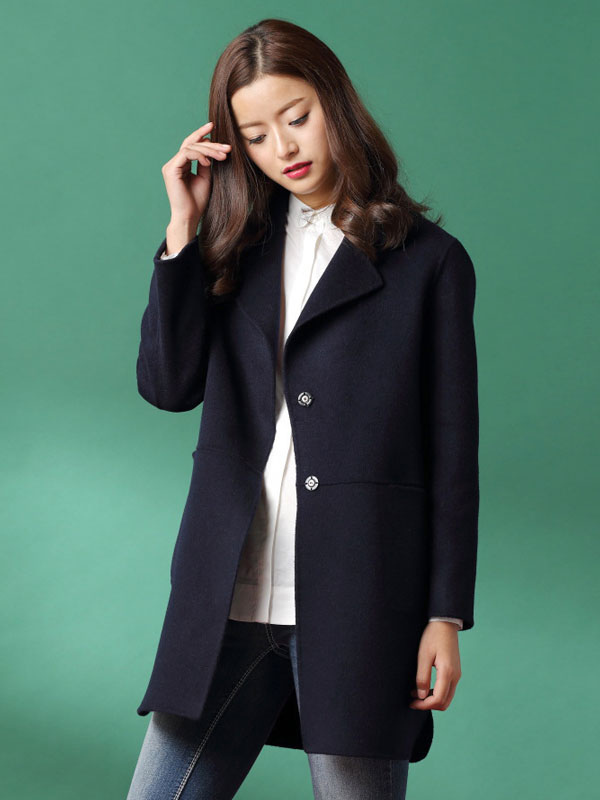 7b86d3e99 ... Women Wool Coats Pink Overcoat Long Sleeve Pockets Winter Coats-No.4 ...