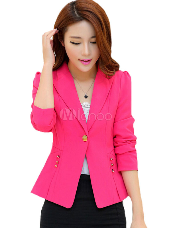 Women's Suit Jacket Long Sleeve Buttons Slim Fit Casual Blazer Jacket Cheap clothes, free shipping worldwide