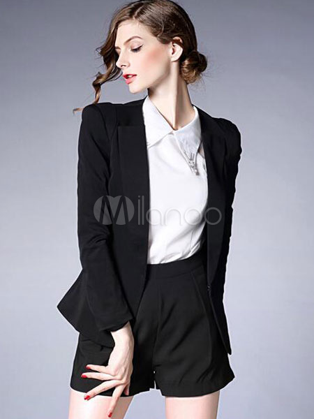blauer blazer anzug taschen langarm schicken anzugjacke f r damen. Black Bedroom Furniture Sets. Home Design Ideas