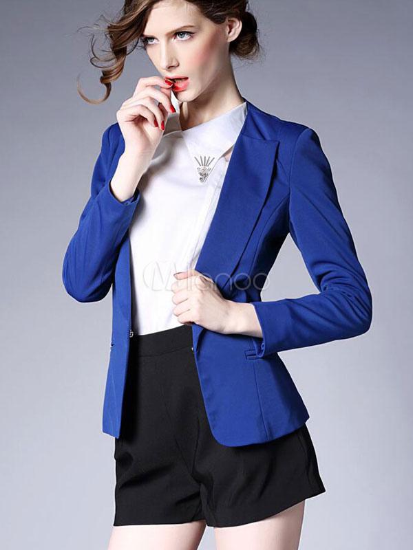 4c6b0c0bd082 ... Blazer blu giacca tasche manica lunga vestito elegante per le donne-No.4  ...