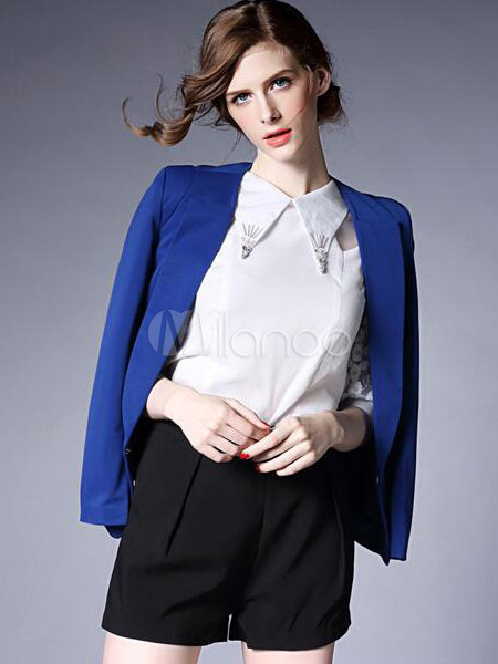b77b4a7a9a05 ... Blazer blu giacca tasche manica lunga vestito elegante per le donne-No.5