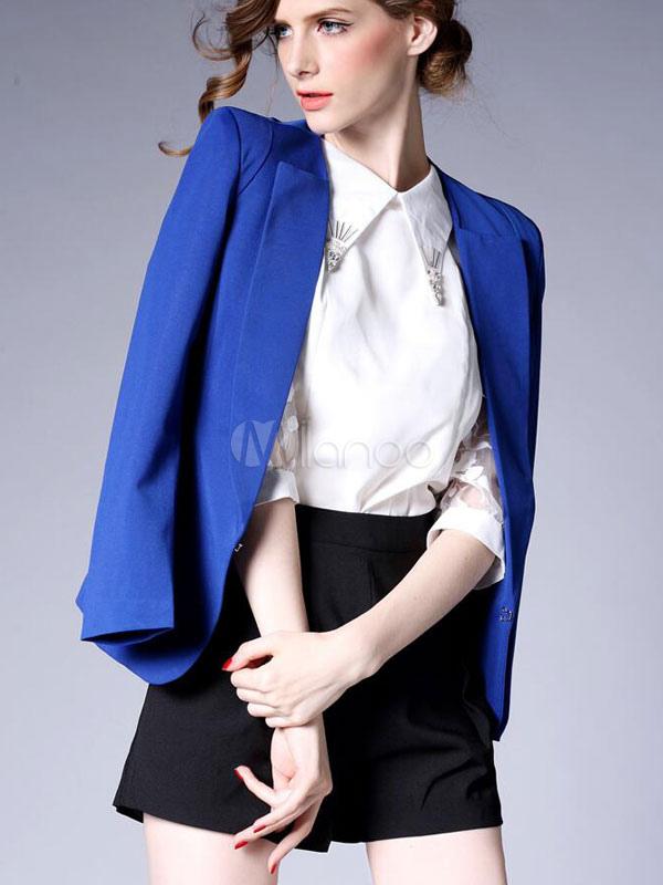1bcb48bddbc8 Blazer blu giacca tasche manica lunga vestito elegante per le donne-No.1 ...