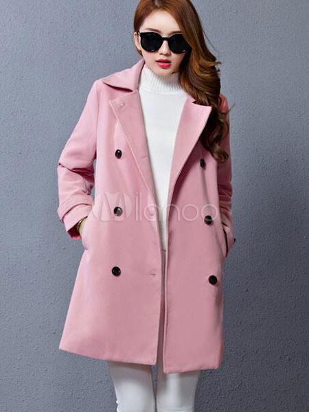 Pink Winter Coat Women s Double Breasted Medium Length Peacoat ... efb8e3a7d8