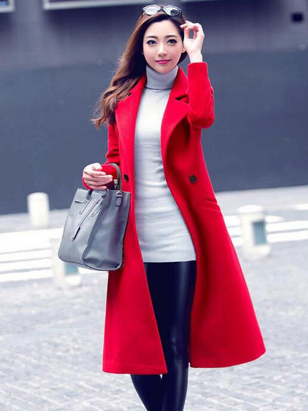 Red Women Coat Trench Overcoat Long Sleeve Winter Coat