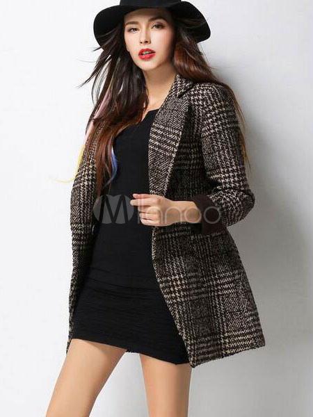 60% de descuento Venta caliente genuino bebé Traje chaqueta bolsillos cruzado cuadros raja elegante Blazer chaqueta mujer