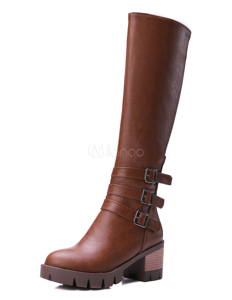 Buy Brown High Boots Knee High Platform Chunky Heel Buckle Round Toe PU Winter Boots For Women for $41.39 in Milanoo store