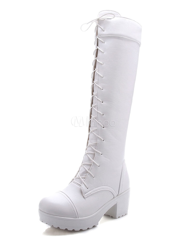 White High Boots Knee Length Women's Platform Lace-up PU Chunky Heel Winter Boots