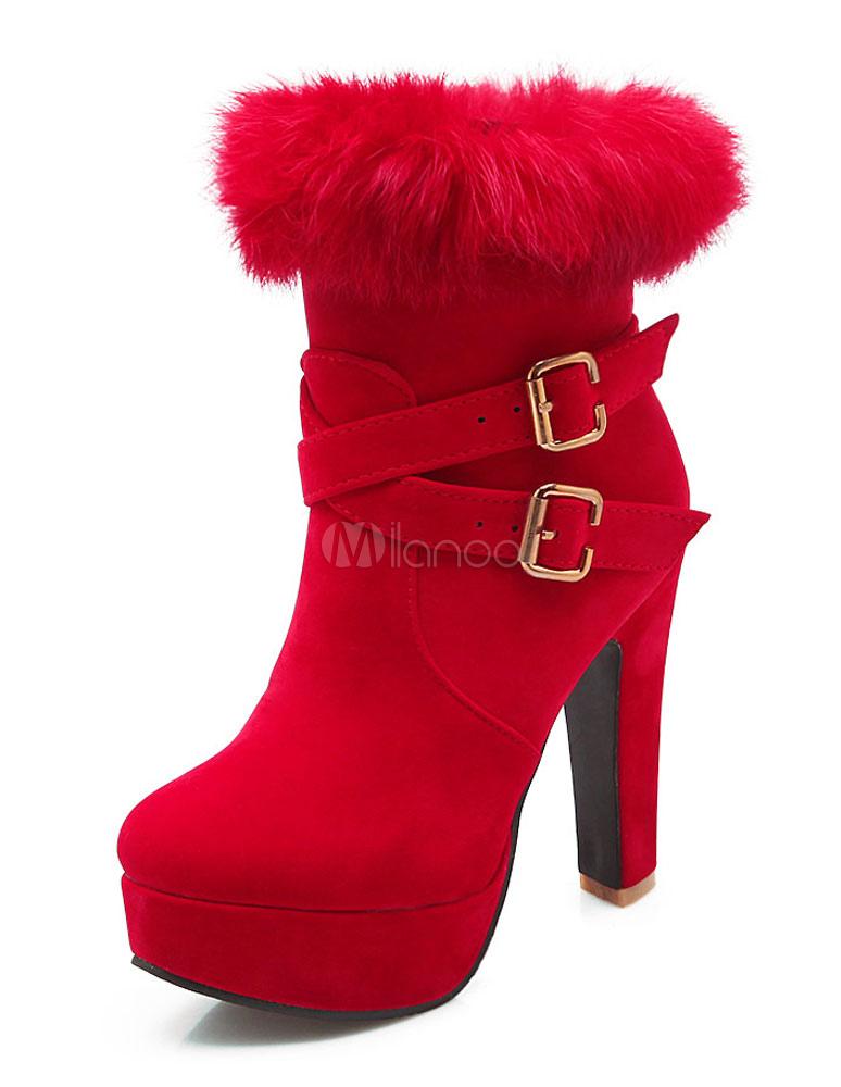 Buy Red Heel Booties Suede Platform Women's Faux Fur Zipper Buckle High Heel Short Boots for $36.89 in Milanoo store