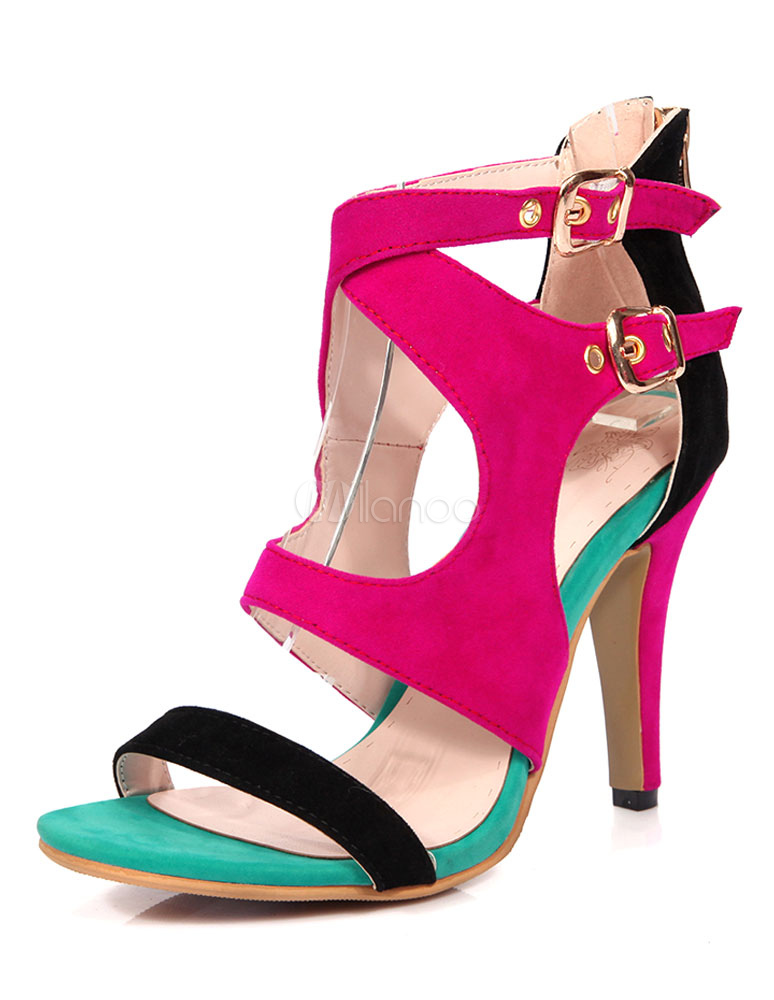 5ad6ea0919c6 High Heel Sandals Women s Multi-color Criss-Cross Buckles Corduroy Stiletto Heel  Shoes- ...