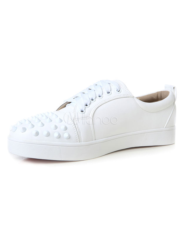Buy Men's White Sneakers Rivet Round Toe Lace-up Leather Skate Shoes for $66.49 in Milanoo store