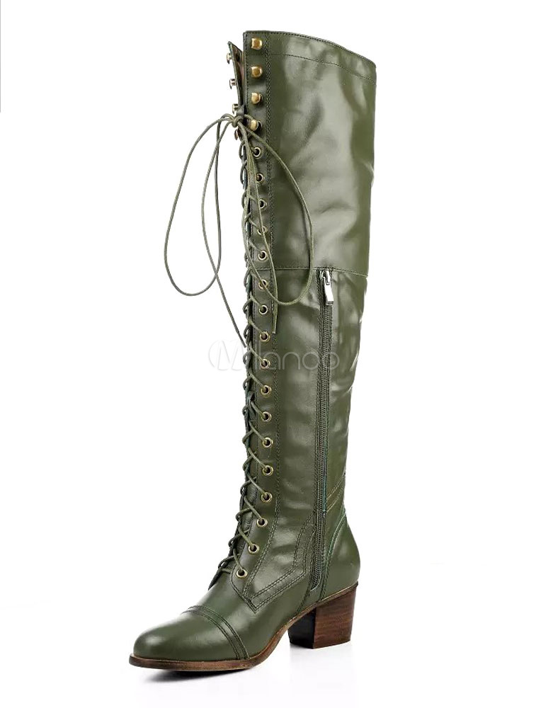 Women's Long Boots Knee Length Hunter Green Zipper Lace Up Round Toe Leather Boots
