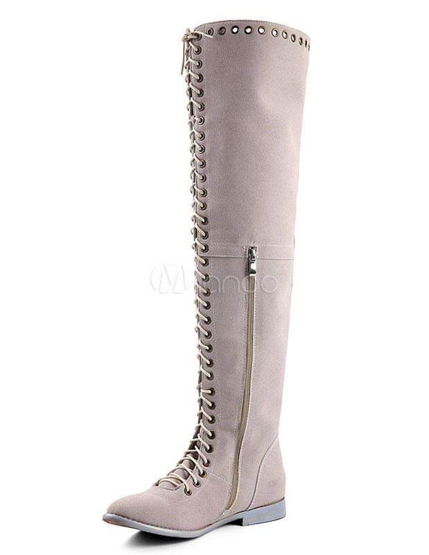 Botas largas gamuza encima de gris cremallera de cordones la rodilla de la  mujer ronda Toe ... 6be3551e651c2