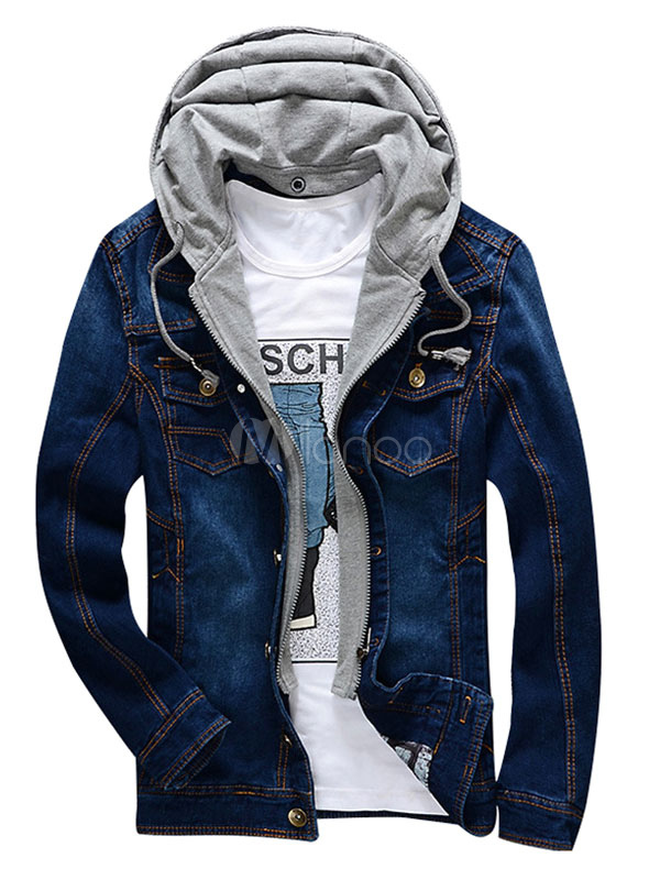 Men's Denim Jacket Blue/Gray/Brown Distressed Jean Jacket With ...