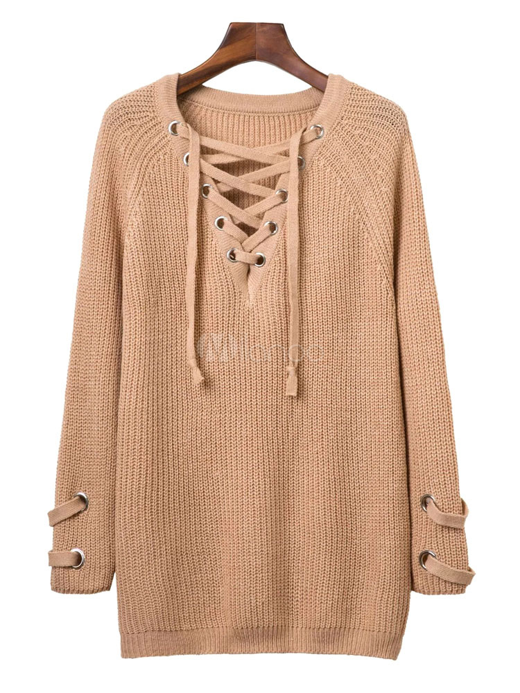 Women's Brown Sweater Long Sleeve V-neck Criss-cross Lace-up ...