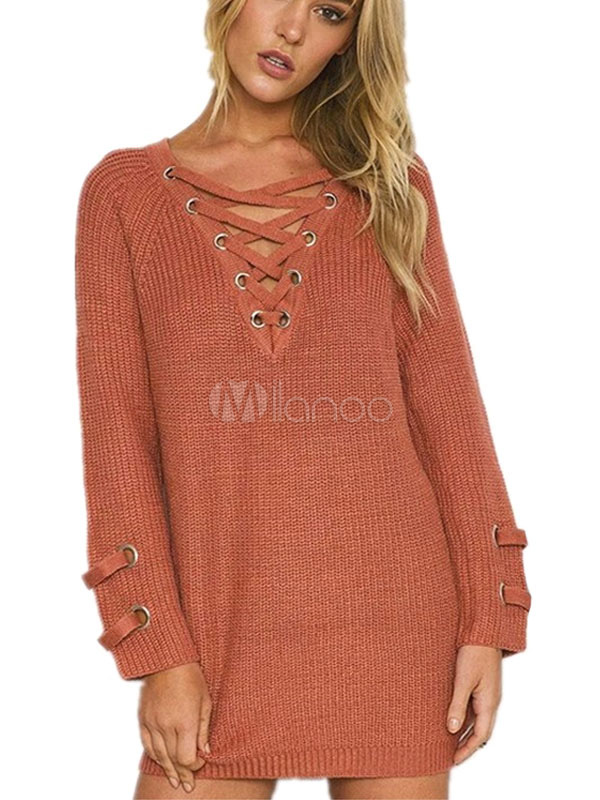 Women's Brown Sweater Long Sleeve V-neck Criss-cross Lace-up Grommet Oversized Pullover Cheap clothes, free shipping worldwide
