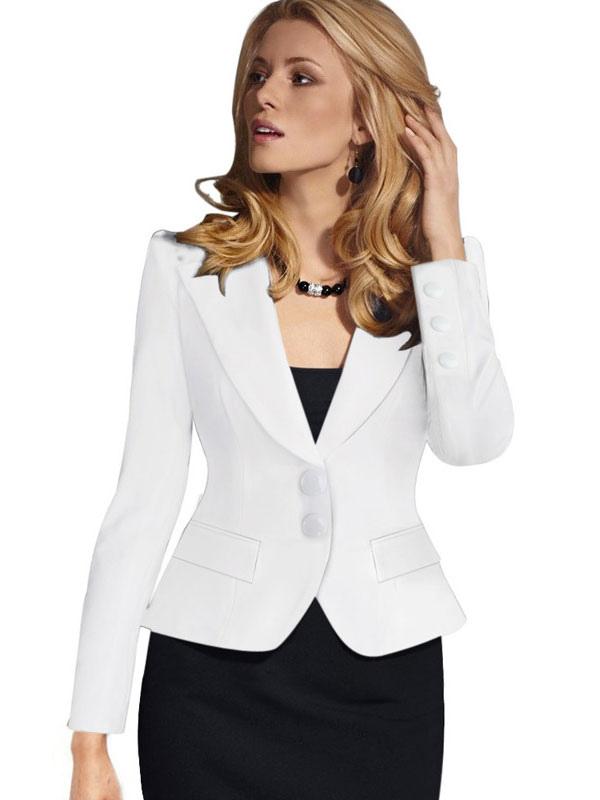 a5829c024f ... Blazers casulaes de mujer 2019 Americanas mujer de poliéster blazer de  cuello vuelto Color liso con ...