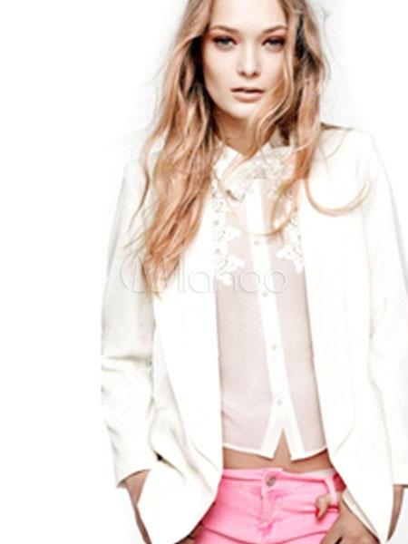 Women White Blazer Spring Jacket Long Sleeve Turndown Collar Pockets Casual Blazer Cheap clothes, free shipping worldwide