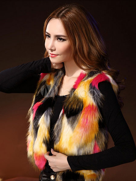 51e7e6e7d7f84f Giacche e cappotti donna pelliccia gilet multicolore senza maniche corta  pelliccia invernale-No.1 ...