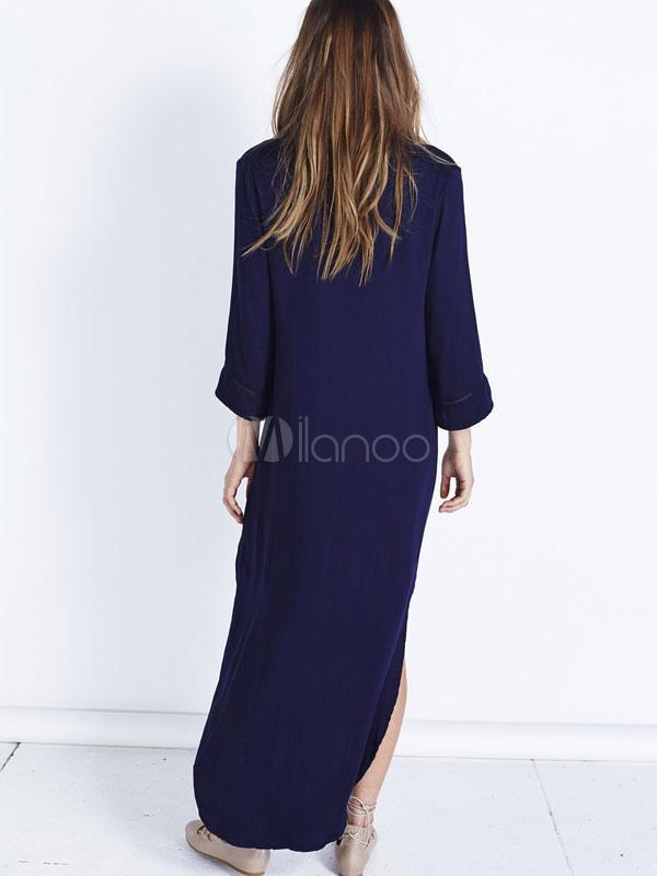 haut bas ourlet irr gulier maj shirt robe d collet plongeant robe en mousseline de soie bleu. Black Bedroom Furniture Sets. Home Design Ideas