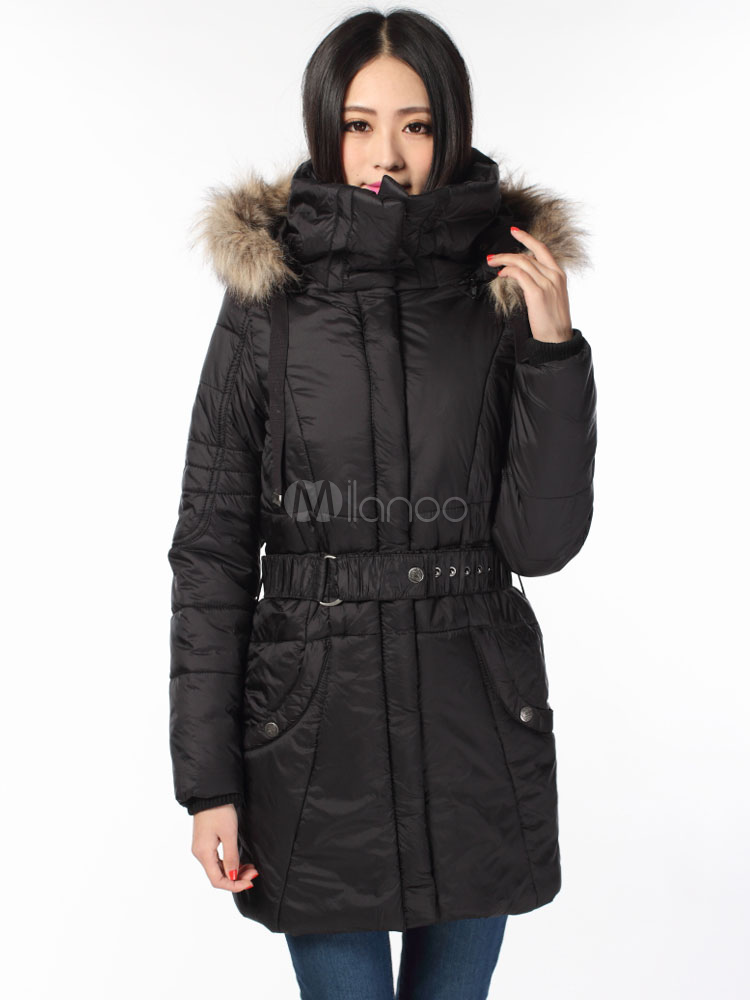 f7f21bfb9bb1 ... Hooded Winter Coat Women s Pockets Medium Length Slim Fit Quilted ...