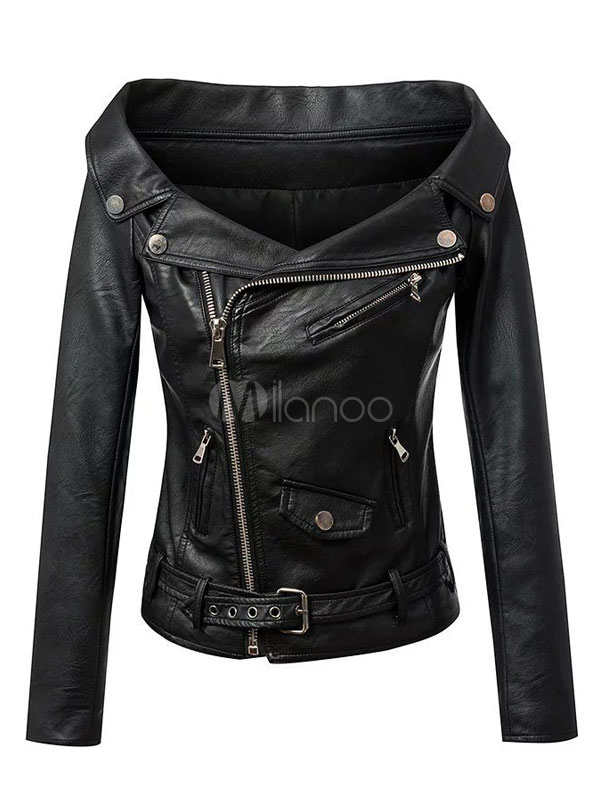 Women Leather Jacket Black Motorcycle Jacket Off The Shoulder Long Sleeve Zipper Belt Biker Jacket