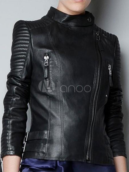 75d5a6a3e Women Leather Jacket Black Motorcycle Jacket Off The Shoulder Long Sleeve  Zipper Belt Biker Jacket