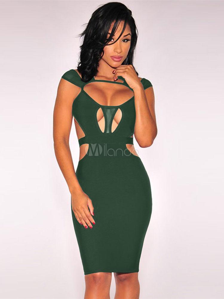 Robe Sexy Clubwear découpe gaine robe Bodycon noire pour femmes-No.1 ... 82b6fe01333b