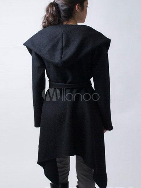 newest 971b8 97a50 Schwarzer Wollmantel mit Kapuze Damen unregelmäßige Design lässig Wrap  Mantel mit Schärpe