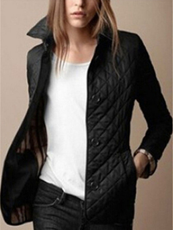 Women Quilted Jacket Black Button Long Sleeve Turndown Collar Padded Coat
