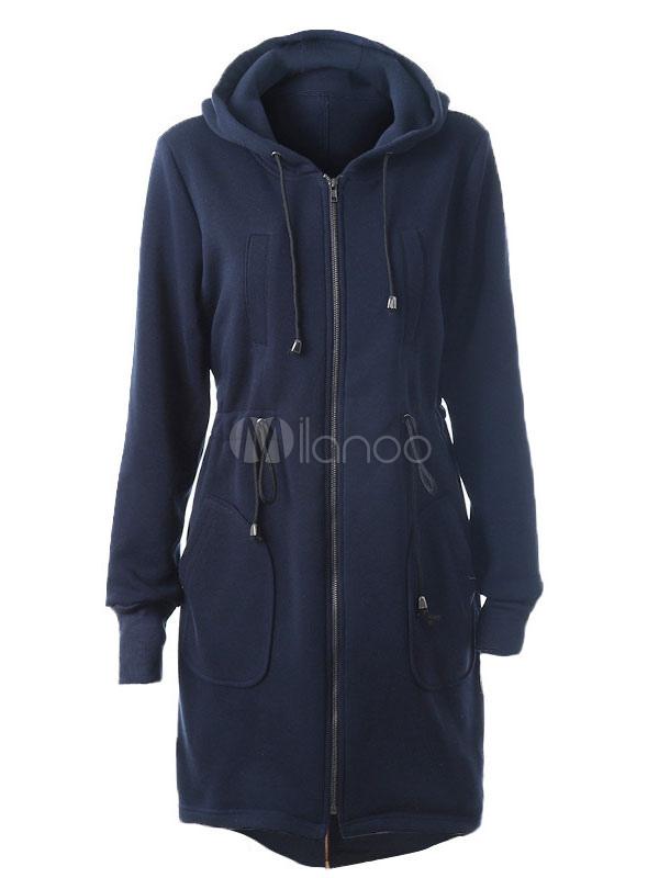 Women's Hooded Parkas Drawstring Pockets Oversized Casual Long Coat
