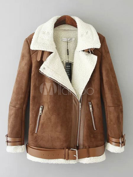 Women Suede Jacket Shearling Coat Lambswool Brown Zip Up Belt Motorcycle Jacket Cheap clothes, free shipping worldwide