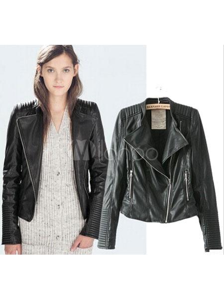 Women's Black Jacket PU Leather Zippers Punk Style Short Moto Jacket