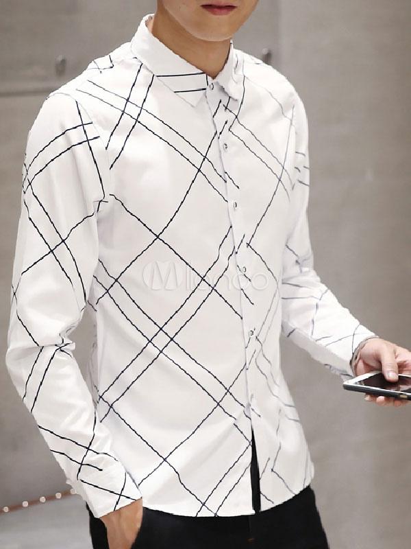 White/Blue Shirts Men's Plaid Long Sleeve Slim Fit Cotton Casual Shirts