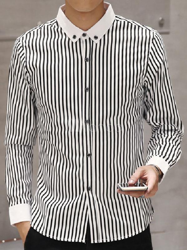 0924889abdf Черные мужские рубашки полосы с длинным рукавом хлопка кнопку Повседневная  рубашка-No.1 ...