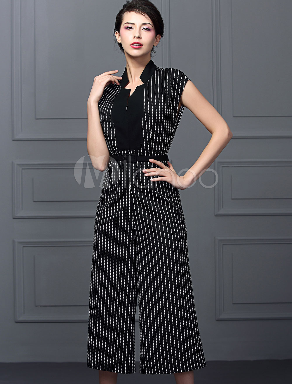 Buy Black Striped Jumpsuit In V-neck High Waist & Wide Leg Pants for $62.99 in Milanoo store