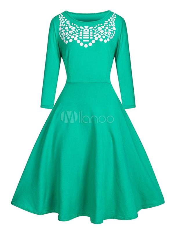 Grünes Kleid für Frauen Plus Größe Baumwolle Langarm Vintage Kleid ...
