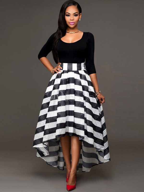 Black Skirt Outfit Women\'s Striped High Low Flare Skirt With Long ...